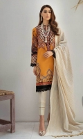 Printed & Embroidered Shirt Front Printed Shirt Back & Sleeves Embroidered NeckLine Khaadi Jacquard Dupatta Dyed Cambric Trouser