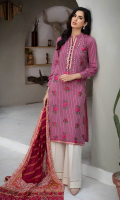 Embroidered Khaadi Jacquard Shirt Front Digital Printed Shirt Back & Sleeves Digital Printed Voil Dupatta Dyed Cambric Trouser