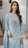 Printed & Embroidered Shirt Front Printed Shirt Back & Sleeves Embroidered Border Digital Printed premium Voil Dupatta Dyed Cambric Trouser