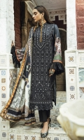 ChickenKari Embroidered Karandi Front with Mirror Work Digital Printed Sleeves & Back Digital Printed Shawl Dyed Karandi Trouser