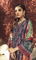 Embroidered Khaddar Front Block Printed Khaddar Sleeves & Back Digital Printed Shawl Dyed Khaddar Trouser