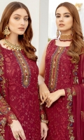 Embroidered chiffon front with sequins – 30 inch Embroidered chiffon back – 30 inch Embroidered chiffon sleeves – 1.25 Meter Embroidered tissue sleeves lace Embroidered tissue daman lace -1.5 Meter Embroidered chiffon dupatta – 2.50 Meter Raw silk trouser – 2.5 Meter Embroidered tissue trouser lace