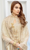 Embroidered chiffon front with sequins – 30 inch Embroidered chiffon back – 30 inch Embroidered chiffon sleeves – 1.25 Meter Embroidered tissue sleeves lace -1.25 Meter Embroidered tissue daman lace – 1.5 Meter Embroidered chiffon dupatta – 2.50 Meter Raw silk trouser – 2.5 Meter Embroidered tissue trouser lace