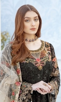 Embroidered chiffon front with sequins – 30 inch Embroidered chiffon back – 30 inch Embroidered tissue neck patch Embroidered chiffon sleeves – 1.25 Meter Embroidered tissue sleeves lace with patches – 1.25 Meter Embroidered tissue daman lace – 1.5 Meter Embroidered net dupatta – 2.50 Meter Raw silk trouser – 2.5 Meter Embroidered tissue trouser lace