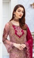 Embroidered chiffon front with sequins– 30 inch Embroidered chiffon back – 30 inch Embroidered chiffon sleeves – 1.25 Meter Embroidered tissue sleeves lace – 1.25 Meter Embroidered tissue daman lace – 1.5 Meter Embroidered chiffon dupatta – 2.50 Meter Raw silk trouser – 2.5 Meter Embroidered tissue trouser lace