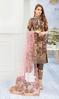 Embroidered chiffon front with sequins – 30 inch Embroidered chiffon back – 30 inch Embroidered Chiffon sleeves– 1.25 Meter Embroidered tissue sleeves lace -1.25 Meter Embroidered tissue daman lace – 1.5 Meter Embroidered net dupatta – 2.50 Meter Raw silk trouser – 2.5 Meter Embroidered tissue trouser lace
