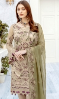 Embroidered chiffon front with sequins – 30 inch Embroidered chiffon back – 30 inch Embroidered chiffon sleeves – 1.25 Meter Embroidered tissue sleeves lace 1.25 Meter Embroidered tissue daman lace – 1.5 Meter Embroidered chiffon dupatta – 2.50 Meter Raw silk trouser – 2.5 Meter Embroidered tissue trouser lace
