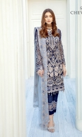 Embroidered chiffon front with sequins – 30 inch Embroidered chiffon back – 30 inch Embroidered chiffon sleeves – 1.25 Meter Embroidered net sleeves lace -1.25 Meter Embroidered net daman lace – 1.5 Meter Embroidered chiffon dupatta – 2.50 Meter Raw silk trouser – 2.5 Meter Embroidered net trouser lace