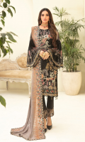 Embroidered chiffon front with sequence Embroidered chiffon back Embroidered chiffon sleeves Embroidered organza lace with pasting Embroidered organza ghera lace Embroidered chiffon dupatta – 2.50 Meter Raw Silk trouser – 2.5 Meter Embroidered organza trouser lace
