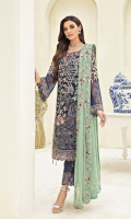Embroidered chiffon front with sequence Embroidered chiffon back Embroidered chiffon sleeves Embroidered organza lace Embroidered organza ghera lace Embroidered chiffon dupatta – 2.50 Meter Raw Silk trouser – 2.5 Meter Embroidered organza trouser lace