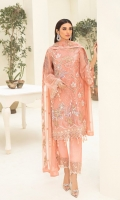 Embroidered chiffon front with sequence Embroidered chiffon back Embroidered chiffon sleeves Embroidered tissue lace Embroidered tissue ghera lace Embroidered chiffon dupatta – 2.50 Meter Raw Silk trouser – 2.5 Meter