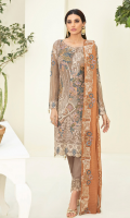 Embroidered chiffon front with sequence Embroidered chiffon back Embroidered chiffon sleeves Embroidered tissue lace Embroidered tissue ghera lace Embroidered chiffon dupatta – 2.50 Meter Raw Silk trouser – 2.5 Meter Embroidered tissue trouser lace