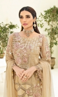 Embroidered chiffon front with sequence Embroidered chiffon back Embroidered chiffon sleeves Embroidered tissue lace with pasting Embroidered tissue ghera lace Embroidered net dupatta – 2.50 Meter Raw Silk trouser – 2.5 Meter Embroidered tissue trouser lace
