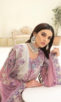Embroidered chiffon front with sequence Embroidered chiffon back Embroidered chiffon sleeves Embroidered tissue lace with pasting Embroidered tissue ghera lace Embroidered chiffon dupatta – 2.50 Meter Raw Silk trouser – 2.5 Meter Embroidered tissue trouser lace