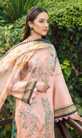 Digit  d lace for daman  Digital printed silk dupatta 2.5 meter  Dyed trouser 2.5 meter  al printed shirt 3 meter  Embroidered front  Embroidere