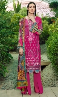 Digital printed shirt 3 meter  Embroidered front  Embroidered lace for daman  Digital printed silk dupatta 2.5 meter  Dyed trouser 2.5 meter