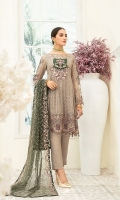 Embroidered Chiffon front with sequins– 30 inch  Embroidered Chiffon back – 30 inch Embroidered Chiffon sleeves  Embroidered tissue sleeves lace with pasting Embroidered tissue ghera lace Embroidered Net dupatta – 2.50 Meter  Raw silk trouser – 2.5 Meter  Embroidered tissue trouser lace