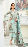 Embroidered Chiffon front with sequins– 30 inch  Embroidered Chiffon back – 30 inch Embroidered Chiffon sleeves  Embroidered tissue sleeves lace with pasting Embroidered tissue ghera lace Digital Printed Chiffon  dupatta – 2.50 Meter  Raw silk trouser – 2.5 Meter  Embroidered tissue trouser lace