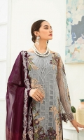 Embroidered Chiffon front with sequins– 30 inch  Embroidered Chiffon back – 30 inch Embroidered Chiffon sleeves  Embroidered tissue sleeves lace with pasting Embroidered tissue ghera lace Embroidered Chiffon dupatta – 2.50 Meter  Raw Silk trouser – 2.5 Meter  Embroidered tissue trouser lace