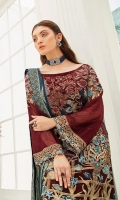 Embroidered Chiffon front with sequins– 30 inch  Embroidered Chiffon back – 30 inch Embroidered Chiffon sleeves  Embroidered net sleeves lace Embroidered net ghera lace Embroidered Jamawar dupatta – 2.50 Meter  Raw silk trouser – 2.5 Meter  Embroidered net trouser lace
