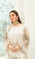 Embroidered Chiffon front with sequins– 30 inch  Embroidered Chiffon back – 30 inch Embroidered Chiffon sleeves  Embroidered tissue sleeves lace Embroidered tissue ghera lace Embroidered Chiffon  dupatta – 2.50 Meter  Raw Silk trouser – 2.5 Meter