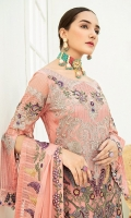 Embroidered Chiffon front with sequins – 30 inch Embroidered Chiffon back – 30 inch Embroidered Chiffon sleeves Embroidered tissue sleeves lace with pasting  Embroidered tissue ghera lace Embroidered Chiffon dupatta – 2.50 Meter Raw Silk trouser – 2.5 Meter  Embroidered tissue trouser lace