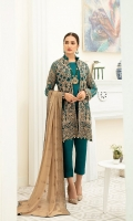 Embroidered Chiffon front with sequins– 30 inch  Embroidered Chiffon back – 30 inch Embroidered Chiffon sleeves  Embroidered organza sleeves lace Embroidered organza ghera lace Embroidered Chiffon dupatta – 2.50 Meter  Raw silk trouser – 2.5 Meter  Embroidered organza trouser lace