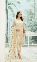 Embroidered Chiffon front with sequins– 30 inch  Embroidered Chiffon back – 30 inch Embroidered Chiffon sleeves  Embroidered tissue sleeves lace Embroidered tissue ghera lace Embroidered Net dupatta – 2.50 Meter  Raw silk trouser – 2.5 Meter  Embroidered tissue trouser lace
