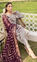 Embroidered Chiffon front with sequins Embroidered Chiffon back Embroidered Chiffon sleeves Embroidered tissue sleeves lace Embroidered tissue ghera lace Bnarsi dupatta – 2.50 Meter Raw silk trouser – 2.5 Meter Embroidered tissue trouser lace