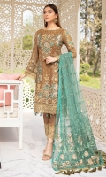 Embroidered Chiffon front with sequins Embroidered Chiffon back Embroidered Chiffon sleeves Embroidered tissue sleeves lace Embroidered tissue ghera lace Embroidered net dupatta – 2.50 Meter Raw silk trouser – 2.5 Meter Embroidered tissue trouser lace