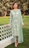 Embroidered Chiffon front with sequins Embroidered Chiffon back Embroidered Chiffon sleeves Embroidered tissue sleeves lace Embroidered tissue ghera lace Embroidered chiffon dupatta – 2.50 Meter Raw silk trouser – 2.5 Meter Embroidered tissue trouser lace