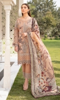 Embroidered Chiffon front with sequins Embroidered Chiffon back Embroidered Chiffon sleeves Embroidered tissue sleeves lace with pasting Embroidered tissue ghera lace Digital printed silk dupatta – 2.50 Meter Raw silk trouser – 2.5 Meter Embroidered tissue trouser lace