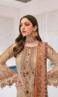 Embroidered chiffon front with sequence Embroidered chiffon back  Hand work neck patch Embroidered chiffon  sleeves Embroidered organza sleeves lace with pasting Embroidered organza ghera lace  Embroidered chiffon dupatta – 2.50 Meter Raw Silk trouser – 2.5 Meter Embroidered organza trouser lace