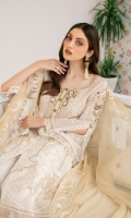 Embroidered chiffon front with sequence Embroidered chiffon back  Hand work neck patch Embroidered chiffon  sleeves Embroidered organza sleeves lace lace with pasting Embroidered organza ghera lace  Embroidered chiffon dupatta – 2.50 Meter Raw Silk trouser – 2.5 Meter Embroidered organza trouser lace
