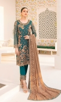 Embroidered chiffon front with sequence Embroidered chiffon back Hand work neck patch Embroidered chiffon sleeves Embroidered organza sleeves lace Embroidered organza ghera lace Embroidered chiffon dupatta – 2.50 Meter Raw Silk trouser – 2.5 Meter Embroidered organza trouser lace