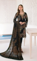 Embroidered chiffon front with sequence Embroidered chiffon back  Hand work neck patch Embroidered chiffon  sleeves Embroidered organza sleeves lace with pasting Embroidered organza ghera lace  Embroidered Jamawar dupatta – 2.50 Meter Raw Silk trouser – 2.5 Meter Embroidered organza trouser lace