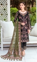 Embroidered Organza front with sequence Embroidered Organza back Hand work neck patch Embroidered Organza sleeves   Embroidered Organza sleeves lace with pasting Embroidered Organza ghera lace Embroidered Net Dupatta Grip trouser – 2.5 Meter Embroidered Organza trouser patches