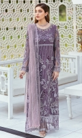 Embroidered net front with sequence Embroidered net back with sequence Hand work neck patch Embroidered net sleeves with sequence Embroidered net sleeves lace with sequence Embroidered net ghera lace with sequence Embroidered Net dupatta with sequence Raw Silk trouser – 2.5 Meter Embroidered net trouser patches