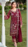 Embroidered Organza front with sequence Embroidered Organza back Hand work neck patch Embroidered Organza sleeves Embroidered net sleeves lace Embroidered net ghera lace Embroidered chiffon dupatta Raw Silk trouser – 2.5 Meter Embroidered net trouser patches