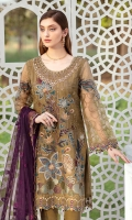 Embroidered Organza front with sequence Embroidered Organza back Hand work neck patch Embroidered Organza sleeves Embroidered organza sleeves lace Embroidered organza ghera lace Embroidered Net dupatta Raw Silk trouser – 2.5 Meter Embroidered net trouser patches