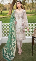 Embroidered Organza front with sequence Embroidered Organza back Hand work neck patch Embroidered Organza sleeves Embroidered Organza sleeves lace with pasting Embroidered Organza ghera lace Embroidered Jamawar dupatta Raw Silk trouser – 2.5 Meter Embroidered Organza trouser patches