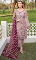 Embroidered Organza front with sequence Embroidered Organza back Hand work neck patch Embroidered Organza sleeves Embroidered Organza sleeves lace Embroidered Organza ghera lace Embroidered Net dupatta Raw Silk trouser – 2.5 Meter Embroidered Organza trouser patches