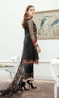 Embroidered Organza front with sequence– 30 inch Embroidered Organza back – 30 inch  Hand work neck patch Embroidered Organza sleeves  Embroidered Organza sleeves lace Embroidered Organza ghera lace Embroidered Net dupatta – 2.50 Meter Raw Silk trouser – 2.5 Meter  Embroidered Organza trouser patches