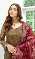 Embroidered Organza front with sequence– 30 inch  Embroidered Organza back – 30 inch  Hand work neck patch Embroidered Organza sleeves  Embroidered Organza sleeves lace Embroidered Organza ghera lace Embroidered Jamawar – 2.50 Meter Raw Silk trouser – 2.5 Meter  Embroidered Organza trouser patches