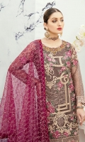 Embroidered Organza front with sequence – 30 inch Embroidered Organza back – 30 inch  Hand work neck patch  Embroidered Organza sleeves Embroidered organza sleeves lace Embroidered organza ghera lace Embroidered Net dupatta Raw Silk trouser – 2.5 Meter  Embroidered organza trouser patches