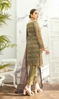 Embroidered Organza front with sequence – 30 inch Embroidered Organza back – 30 inch  Hand work neck patch Embroidered Organza sleeves  Embroidered Organza sleeves lace Embroidered Organza ghera lace Embroidered Net dupatta – 2.50 Meter Raw Silk trouser – 2.5 Meter  Embroidered Organza trouser patches