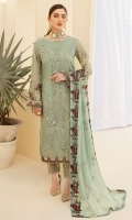 Embroidered Chiffon front with sequins Embroidered Chiffon back Embroidered Chiffon sleeves Embroidered Organza sleeves lace with pasting Embroidered Organza ghera lace Embroidered Chiffon dupatta – 2.5 Meter Raw silk trouser – 2.5 Meter Embroidered Organza trouser lace