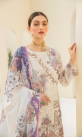 Embroidered Chiffon front with sequins Embroidered Chiffon back Embroidered Chiffon sleeves Embroidered Organza sleeves lace Embroidered Organza ghera lace Digital printed silk dupatta – 2.5 Meter Raw Silk trouser – 2.5 Meter Embroidered Organza trouser lace