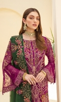 Embroidered Chiffon front with sequins Embroidered Chiffon back Embroidered Chiffon sleeves Embroidered Organza sleeves lace Embroidered Organza ghera lace Embroidered chiffon dupatta – 2.5 Meter Raw Silk trouser – 2.5 Meter Embroidered Organza trouser lace
