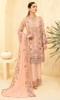 Embroidered Chiffon front with sequins Embroidered Chiffon back Embroidered Chiffon sleeves Embroidered Organza sleeves lace–1.25 Embroidered Organza ghera lace Embroidered Chiffon dupatta – 2.5 Meter Raw Silk trouser – 2.5 Meter Embroidered Organza trouser lace